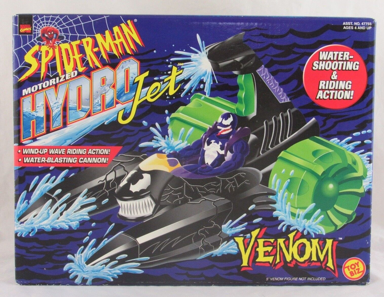Marvel Spider-Man Venom Motorized Hydro Jet, Toy Biz 1998, Sealed in Box - RARE