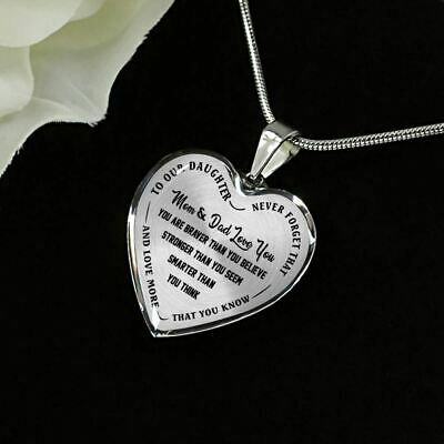 Silver Heart Jewelry for teen Girls To My Daughter Pendant Necklace From Dad