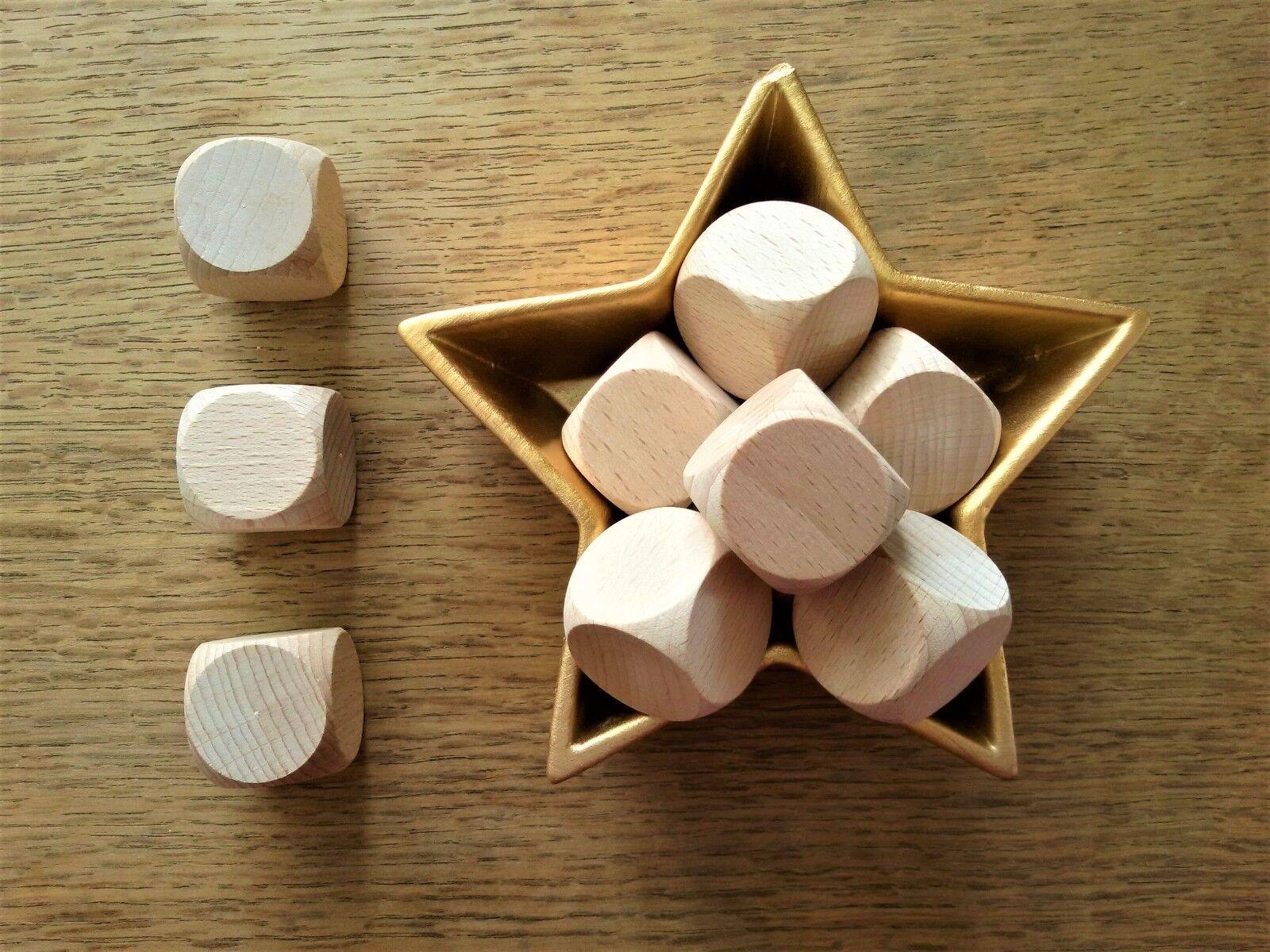 Wooden Dice Blank Plain Unpainted 30 mm High Quality Beech
