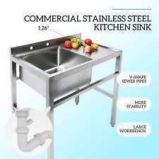 1 Compartment Commercial Kitchen Sink Restaurant Sink Utility Sink Drain Board