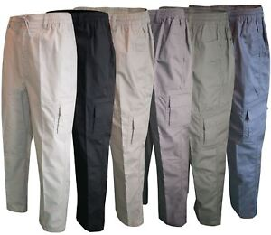 Men-Straight-Trousers-Cargo-Combat-Cotton-Elasticated-Zip-Fly-Casual-Pants-M-3XL