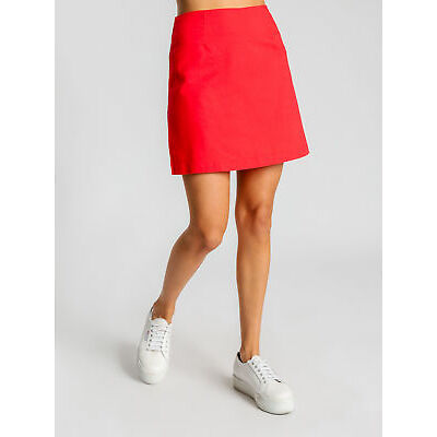 New Nude Lucy Womens Malloy Skirt In Cherry Red Linen Skirts Mini Linen