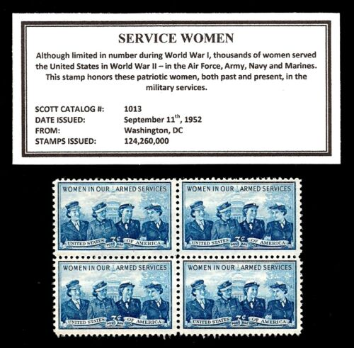 1952 - SERVICE WOMEN - Mint, Never Hinged, Block of Four Vintage Postage Stamps