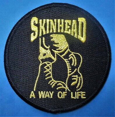 Skinhead A Way Of Life Sitting Man Circular Gold /& Black Embroidered Patch