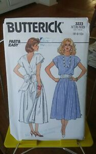 Oop-Butterick-Easy-3223-misses-back-wrap-dress-full-skirt-sz-6-10-NEW