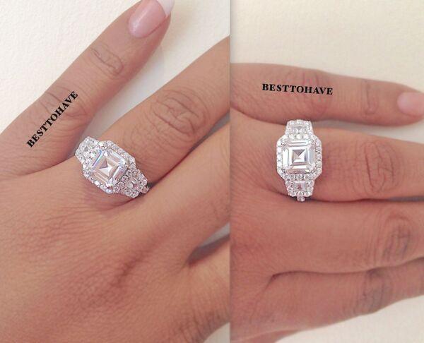 Asscher Cut Halo Art Deco 925 Silver Ladies Wedding Engagement Bridal Band Ring Verhindern, Dass Haare Vergrau Werden Und Helfen, Den Teint Zu Erhalten