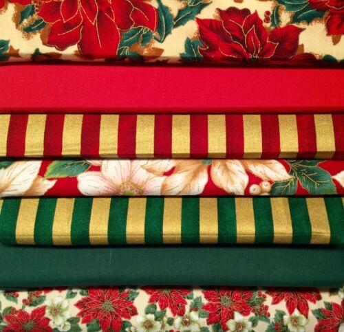 Fat trimestre bundle noël tissu de coton à rayures Poinsettia Or Rouge Vert F21