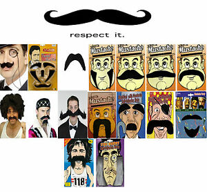 Unisex Self Adhesive Moustaches and beard Fake Mustache Set Fancy Dress 18Styles