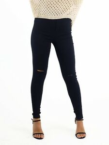 MIA-AVA-WOMEN-039-S-JEGGING-HIGH-WAISTED-WITH-KNEE-RIP-BLACK-GENEROUS-SIZING