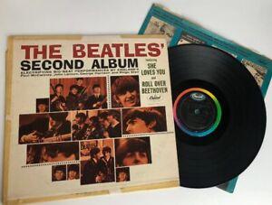 The-Beatles-039-Second-Album-Mono-T-2080-Capitol-Rainbow-Vinyl-Blue-Insert-Cover