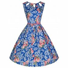 NEW VINTAGE 50'S STYLE SECRET GARDEN LILY ROCKABILLY SWING DRESS SIZE 10