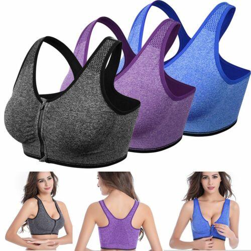 US Women/'s Front Zip Sport Bra Push Up High Impact Wireless Padded Yoga Gym Vest
