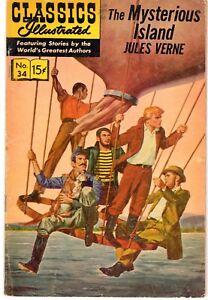 CLASSIQUES-ILLUSTRES-15-L-039-ILE-MYSTERIEUSE-JULES-VERNE-1957-TEXTE-EN-ANGLAIS