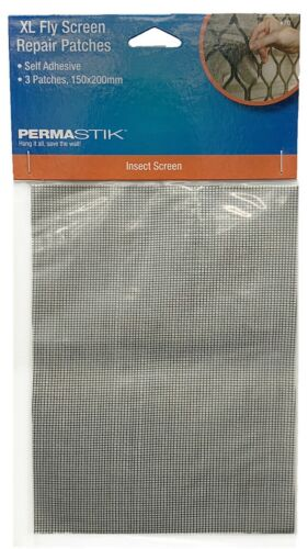 Permastik XL FLY SCREEN REPAIR PATCHES 150x200mm 3Pcs Self Adhesive BLACK