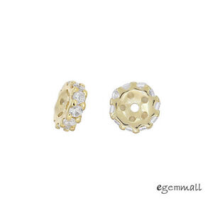 2x 14kt Gold Plated Sterling Silver Cz Rondelle Spacer Beads 5.5mm #99370 Les Couleurs Sont Frappantes