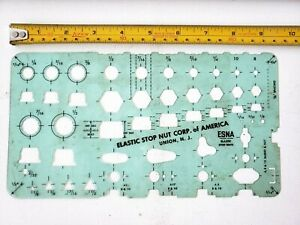 Vintage Drafting Template Elastic Stop Nut Corporation of America Stencil ESNA