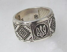 Ukrainian Tryzub+Embroidery Style Oxidized St.Silver Ring,Vyshyvanka,Size 6.5