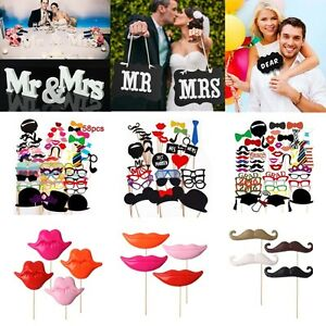 18 styles photo booth selfie props colourful wedding moustache lips fun on stick ebay. Black Bedroom Furniture Sets. Home Design Ideas