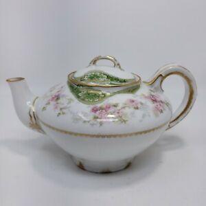 GDA France Limoges Pink Roses Golden Rim Teapot