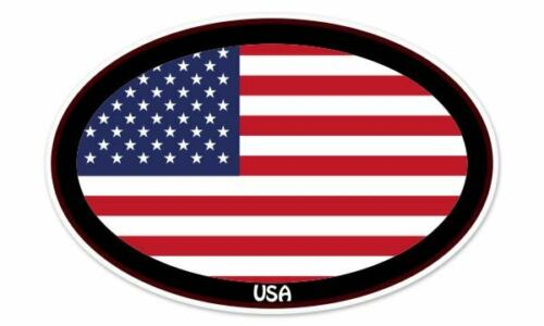 "USA Flag Oval car window bumper sticker decal 5/"" x 3/"""