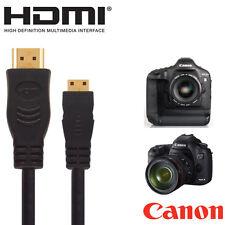 Canon Eos 100d, 700d, 1100d, 1200d SLR Cámara Hdmi Mini Monitor TV del cable 2.5 m