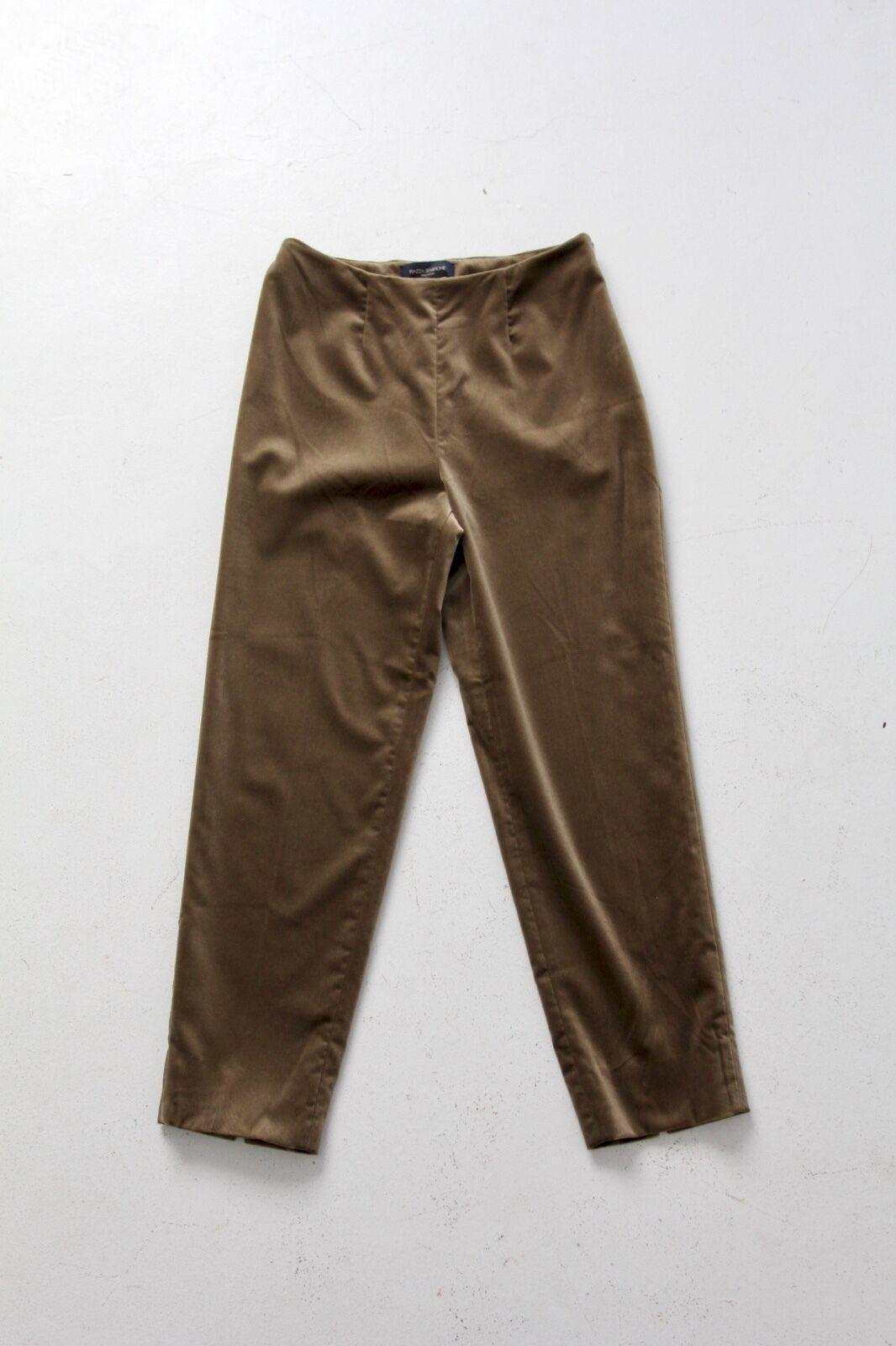 Piazza Sempione Audrey crop velvet pants velveteen olive braun slacks Größe 6