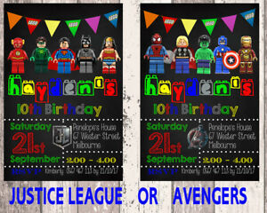 Image Is Loading Lego Justice League OR Avengers Birthday Invitations Printed