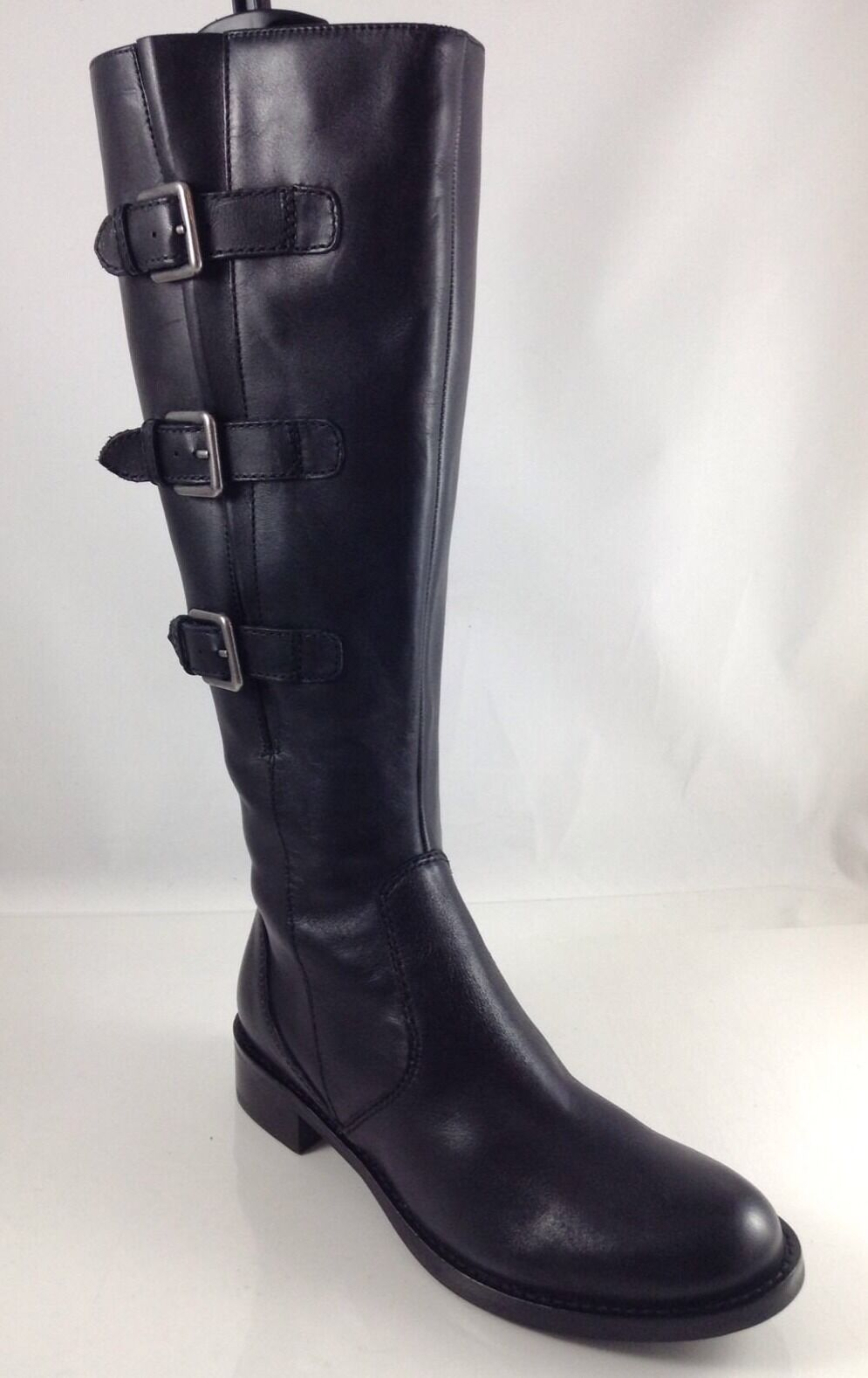 Ecco Womens Black Leather Knee Boots 36