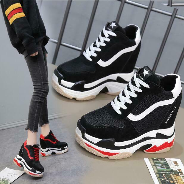 Womens Platform Wedge Hidden Sneakers Running Mixed color shoes Athletic Fashion