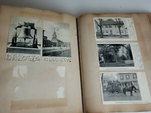Album-160-Lot-Of-Antique-Vintage-Postcards-And-Photos-Used-With-Writing-1905