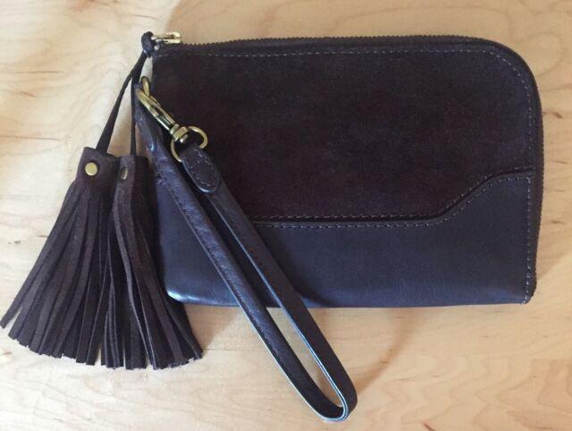 Nwt Women s Frye Leather   Suede Paige Wristlet Wallet 7219900533