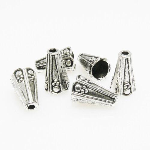 1067 6 große Perlenkappen Endkappen Perlkappen silber antik Kappen 12mm