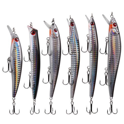 6Pcs Fishing Lures Minnow Crankbait Jerkbait Popper Bass Wobbler Hard Bait lure