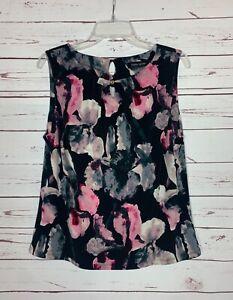 IVANKA TRUMP Women's L Large Black Pink Floral Sleeveless Spring Top Blouse Tank