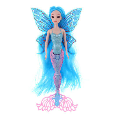 Classic Mermaid Doll Toy Princess Girl Doll with Glittering Tail and Wing #A