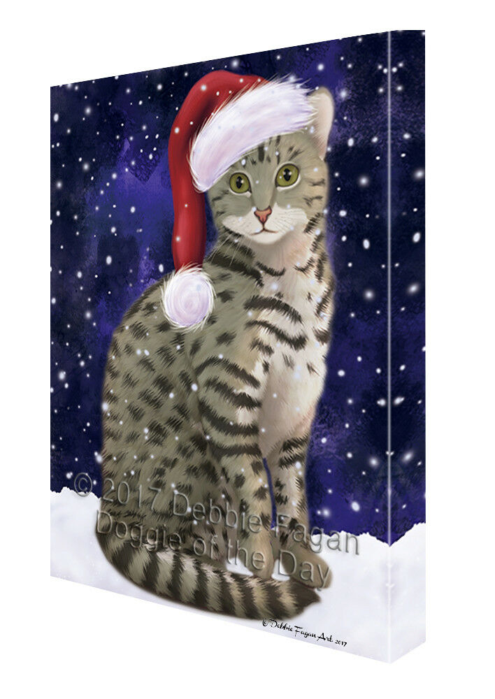 Let it Snow Christmas Holiday Egyptian Mau Cat Canvas Wall Art T41