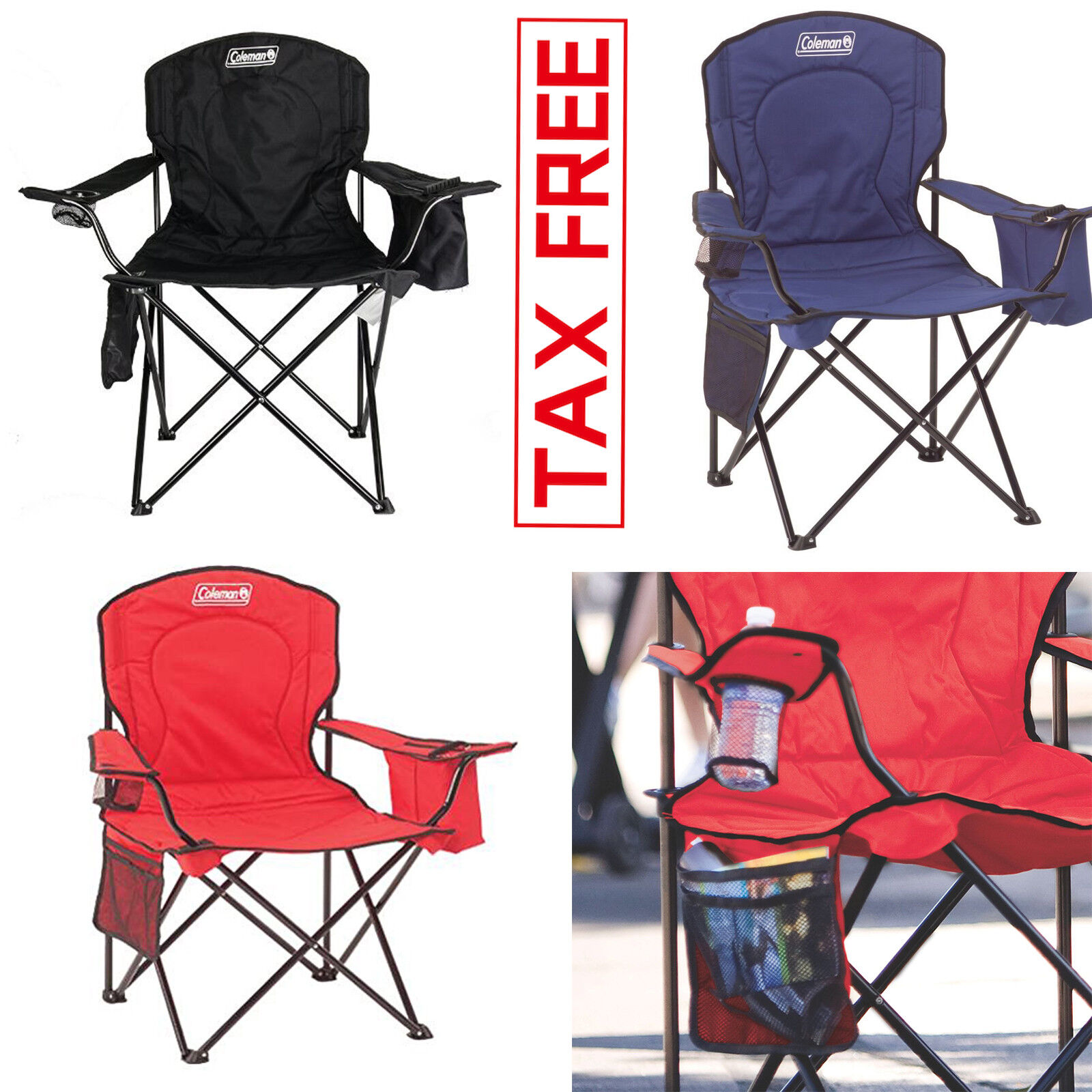 Heavy Duty 350LB Oversized  Camping Portable Folding Beach Chair Seat Cup Holder  exclusive