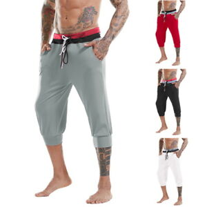 a1724259cd8f US Summer Men Casual Jogger Pants Cotton Breathable Below Knee GYM ...