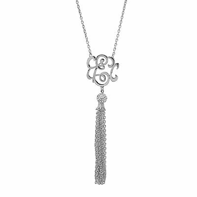 Monogram Initial Letter A Tassel Silver Tone Necklace W// Pave Crystal Bead