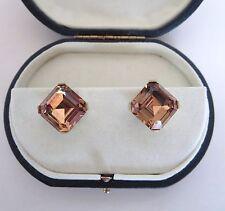 VTG CROWN TRIFARI Smoky Quartz Topaz Crystal Rhinestone Clip On Earrings Signed