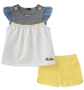 Nautica Infant Girls Navy /& White Tunic 2pc Short Set Size 12M 18M 24M $50