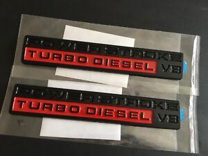 MATT BLACK// RED POWER STROKE DIESEL V8 EMBLEM BLADGE SUPERDUTY SUPER DUTY 2PCS