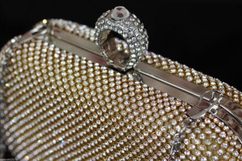 ABBAGLIANTE ANELLO DI CRISTALLO E Diamante Da Sera Clutch Borsa Per Festa Di Nozze /&