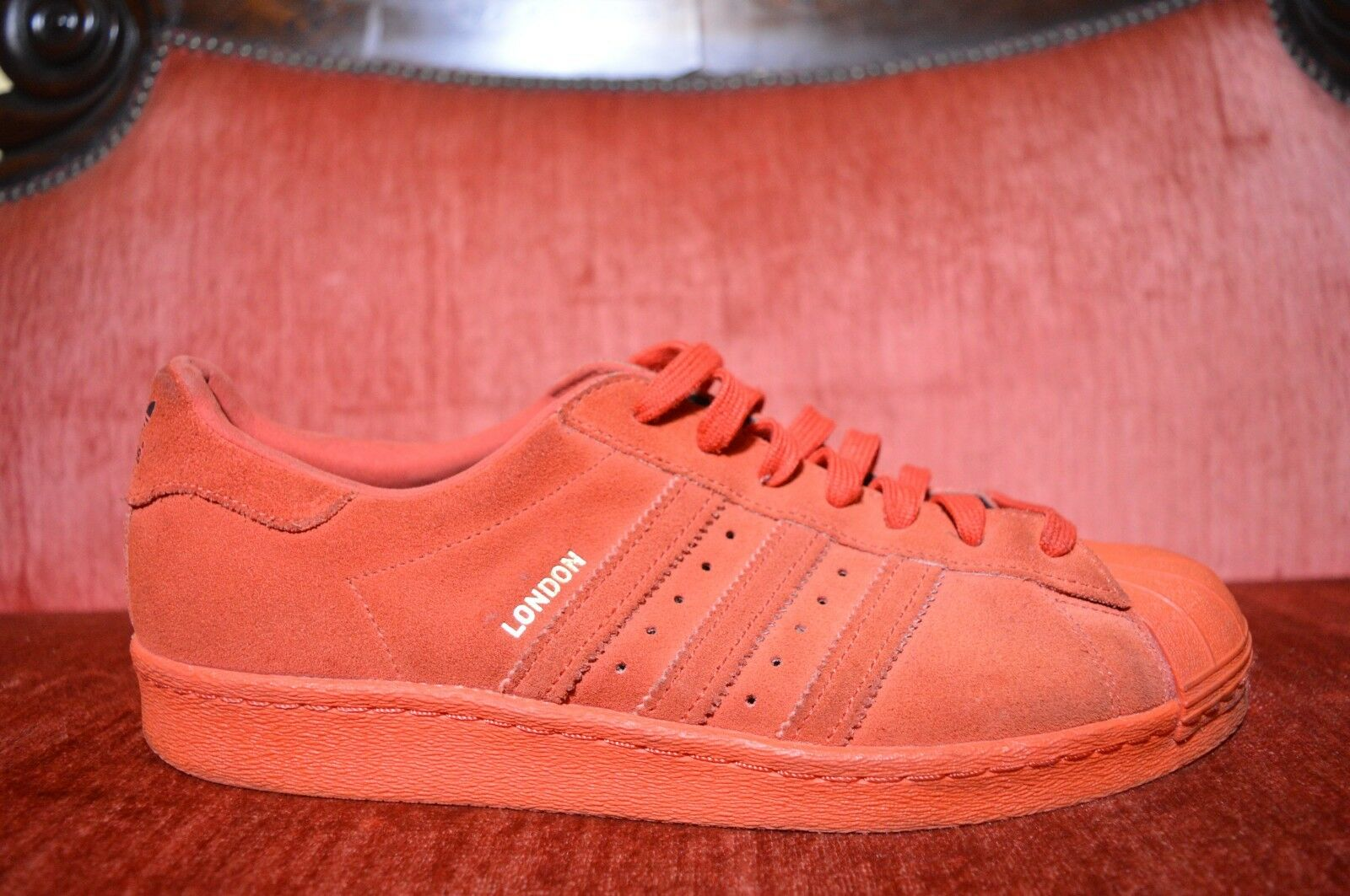 Adidas Superstar 80s City Series London Red Triple Suede Shoes Size 11 B32664