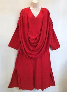 d846e84c764 Details about Moroccan Ethnic Bohemian Gypsy Goddess Layered Lagenlook LS Magic  Dress Red