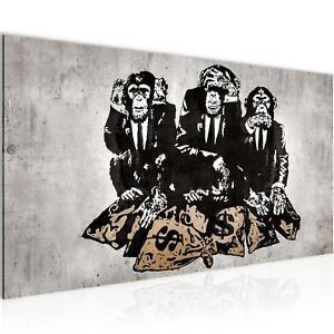 Bild-Bilder-Wandbild-XXL-100x40-cm-Banksy-Affe-Kunstdruck-Leinwand-aus-Vlies