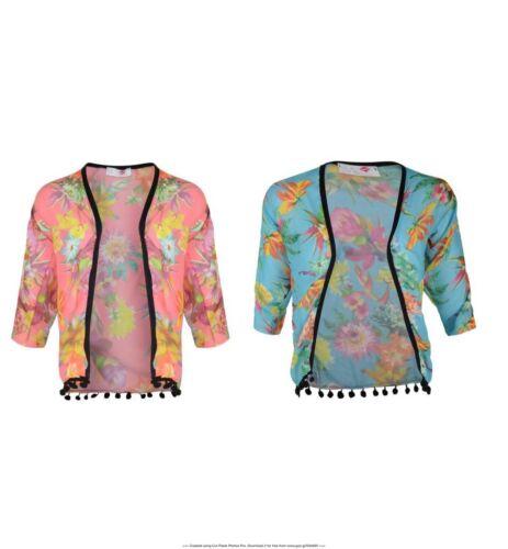 Girls Kids Floral Kimono Blazer Cardigan With Tassle Age 5 6 7 8 9 10 11 12 13