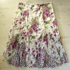 M&S Size 18 Skirt Petal Hem Crinkle Purple & White Floral Cotton Summer Holiday