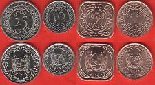 Suriname set of 4 coins: 1 - 25 cents 1988-2009 UNC