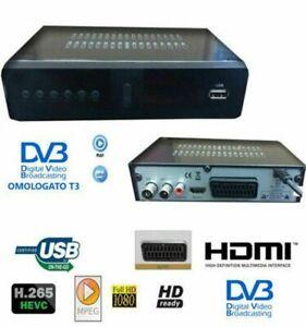 DECODER RICEVITORE DIGITALE TERRESTRE DVB T3 TV SCART HDMI 1080P H.265 HD-999A